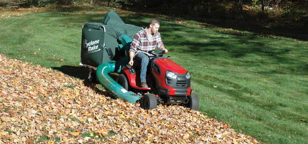 The Cyclone Rake Commander leaf collection system is like a huge leaf bagger