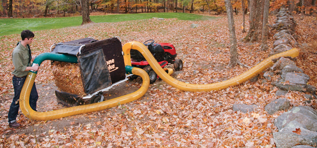 The Power Unloader removes the leaves from the leaf bagger