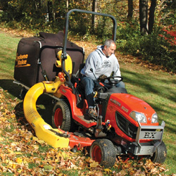 This commercial leaf removal equipment includes a Kubota-BX-Series on an XL. It's built tough for commercial lawn vacuum use.